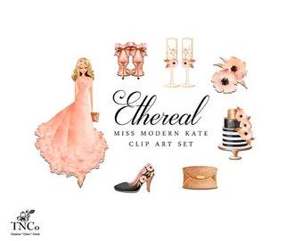 Ethereal Dress - Commercial Digital Clipart - Watercolor Digital clipart - Watercolour flower - Fashion Illustration - Rose Gold Clutch - MK