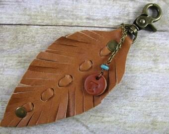 Leather Key Chain - Tassel Key Ring - Bullet Key Chain - Initial Key Chain - Leather Bag Charm
