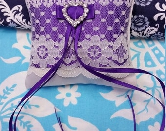 Wedding Ring Bearer pillow, beautiful Pocket pillow ivory lace and satin with a purple belt and lace overlay. 9cm square --Choose your COLOR