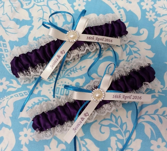 Personalized Wedding Garter Sets: Plum And Ivory Wedding Garter Set Personalized Plum Dark