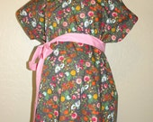 LINED Hailey Maternity Hospital Delivery Gown - Multi Color Blooms on Grey - Choose Your Lining and Sash Color - by Mommy Moxie on Etsy