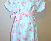 NAME ME- LINED Vintage Looking Pink Hot Pink Flowers on Aqua  - Choose Your Lining Color- by Mommy Moxie on Etsy