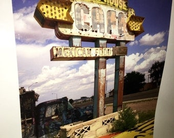 Original 9 by 12 photo on 15 by 18 Ranch house vintage Mexican resturaunt sign route 66 series