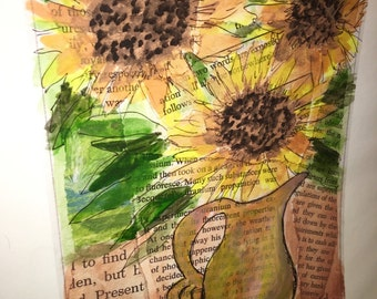 Original 9 by 12 photo on 15 by 18 paper print of original mixed media sunflower art