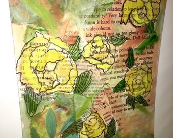 Original 9 by 12 photo on 15 by 18 paper print of original mixed media yellow rose collage