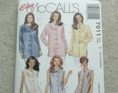 Misses RARE Easy McCall's Tunic Pattern, McCall's 7011, Mandarin Collar Jacket with Frog Closures, Size Xsm, Sml, Med