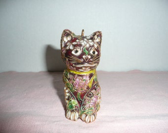 GORGEOUS Cloisonne Cat Figurine, Made in China