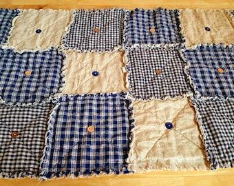 Prim Table Runner, Navy Blue Homespun, Country Primitive Rag Quilt Style, Button Adorned, Rustic Table Runner, Handmade in NJ