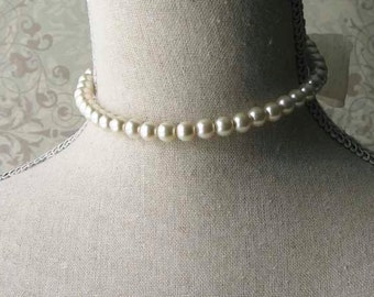 Ivory Pearl Choker, 18th century jewelry, Outlander Inspired, Historical Jewelry