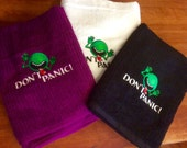 Don't Panic! Embroidered Bath Towel