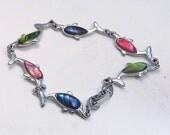 Sale 20 Vintage paua seashell dolphin tennis bracelet