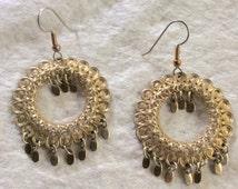 Sale 20 Gold filigree hoops gold drop dangle accents pierced earrings