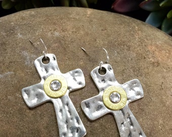Bullet Earrings / 45 Auto Silver Hammered Cross Bullet Earrings / Cross Bullet Earrings / Cross Earrings / Silver Bullet Earrings