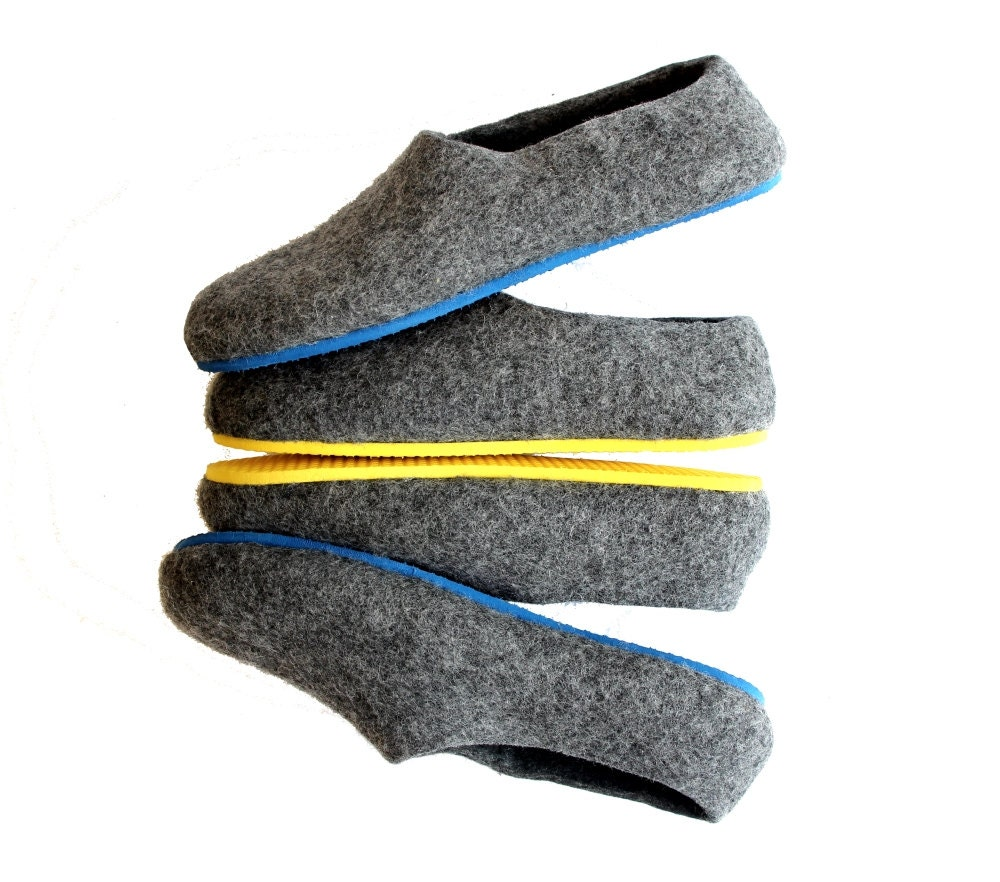 mens wool slippers grey house shoes felt by feltwoolslippers