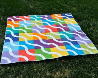 "Rainbow, Bright Colored Baseball Curves Modern Bed Quilt 72"" x 72"" from My Book"