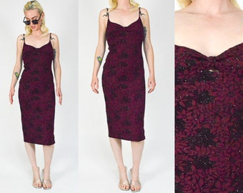 90's Floral BLACK  and RED Spaghetti Strap Dress. Floral Print. 90's Grunge Long Dress. 90's CLUB Sparkly. Mod Goth