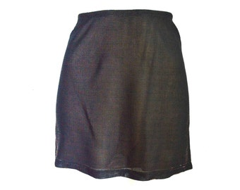 90's Sheer Illusion High Rise Bronze Metallic Sparkly Mini Skirt size - S/M