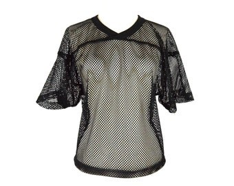 90's Black Sheer Mesh Crop T Shirt size - S/M