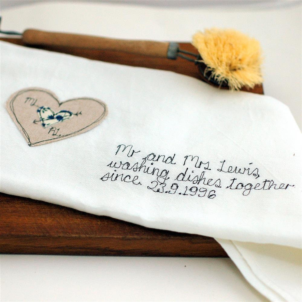 Wedding Gift Tea Towels : 2nd Wedding Anniversary Gift Tea Towel Cotton Anniversary