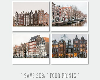 Sale, Discounted Set of Four 8x10 prints - Amsterdam Photography, Crooked Houses, Travel Photograph, European Photo, Architecture Amsterdam