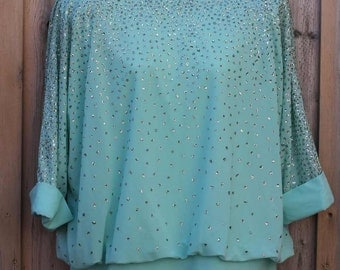 SPARKLE TOP - TURQUOISE - by gigi's closette, glenview - bat wing sleeves - shoulder pads - size L