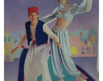 "Harem Costume Pattern, Men and Women, Belly Dancer, Harem Pants, Bra Blouse, Hat, Veil, McCalls 8386 Size Medium 34-36"" Chest"