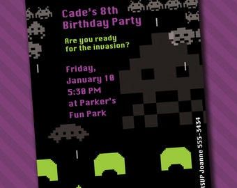 Space Invaders Invitations *Digital Download*