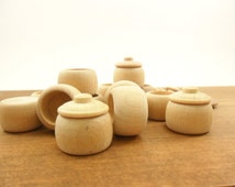 """50 Cookie Jars With Lid Unfinished Wood Miniature 7/8"""" H x 7/8"""" W"""