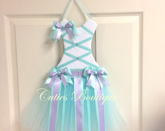 Aqua Lavender Tutu Dress Hair Bow Holder Perfect Gift For Birthday Christmas Baby Shower It's a Girl