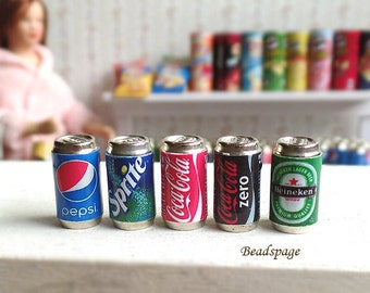 Miniature Drinks Beverage Canned Soda Beer Groceries for 1:12 Scale (1 inch scale) Dollhouse Diorama Roombox DIY craft Food Jewelry