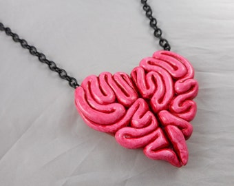 Giant Heart Brain Necklace