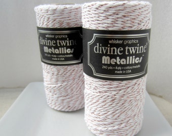 Rose Gold MetallicTwine, Rose Gold Divine Twine- full spool, 240 yards, cotton string, rose gold bakers twine, packaging supply
