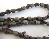 Vintage Leather & Silver Metal Necklace - Unique Vintage, Edgy Appearance