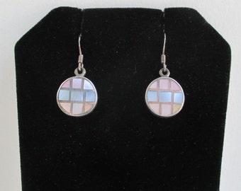 Sterling Silver & Colored Pearl Pierced Earrings - Vintage, Dangling