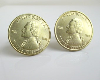 Thomas Jefferson Coin Cuff Links - Vintage Gold / Brass Tokens, Repurposed Coins