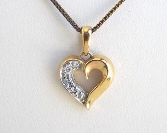 "Heart Pendant Necklace - Vintage Gold Finish Over 925 Sterling Silver, 18"""