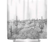 Cactus Shower Curtain - Desert Home Decor - Rustic Bathroom Decor - Southwest Photo - Tucson Decor - Bathroom Decor - Black and White