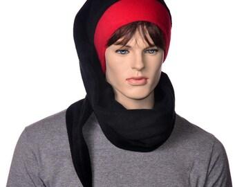 Goth Black Hat Red Brim PomPom Super Extra Long Stocking Hat Scarf Hat Five Feet Long Wrap Around