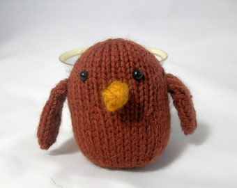 Hand Knit Bird. Brown Bird. Baby Bird. Woodland Plushie. Pretend Play. Stuffed Bird. Basket Stuffer. Ready To Ship. Gifts Under 10