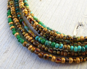 Seed Bead Necklace, Long Bohemian Necklace, Czech Picasso Glass, Double Strand, Convertible Necklace, Wrap Bracelet, Boho Chic, Hippie Style
