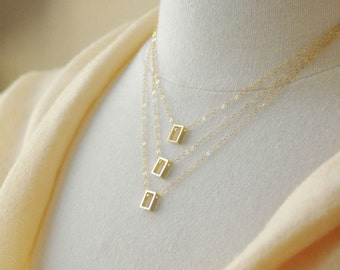 Gold Rectangles Layered Necklace - Geometric Necklace, Simple Minimalist Design, 14K Gold Filled Chain, Dainty Necklace