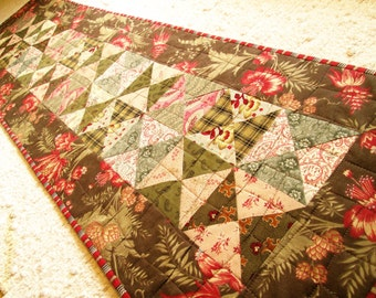 Quilted Winter Christmas Cottage Chic Table Runner