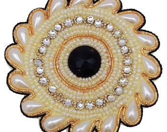 Pearls Beaded Floral Applique Ptach Supplies Decorative Royal Applique Designer sewing Appliques Dress Decor Patch Applique By 1 Pcs RAP505C