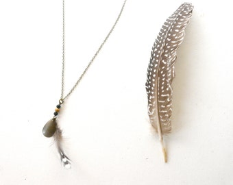 Natural santal wood beads and feather necklace pendant ( old lady ) 03