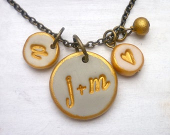 Custom Family Necklace, Couple's and kids initials, Gift for Wife, anniversary Jewelry, Personalized Keepsake from Husband to Wife, Family