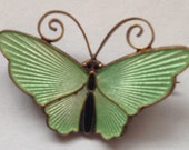 Vintage Norway Sterling DA Guilloche Enamel Butterfly Brooch David Andersen