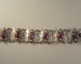 Vintage 1940s Sterling Mexican Amethyst Bracelet