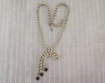 Vintage Rhinestone Dangle Necklace, Clear Rhinestone Chain, Art Deco Style Adjustable Cascade Necklace