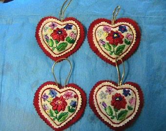 "HUNGARIAN silk emroidered KALOCSA 3-3/4"" HEART ornament~New~handmade by me"