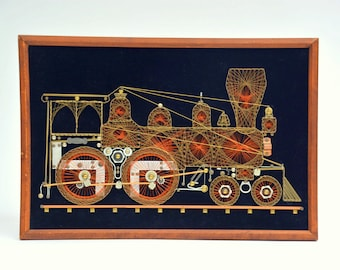 Vintage Locomotive Black Velvet Wire Art, EXC. Condition: Steampunk Railroad Train Engine Wall Hanging -- Copper, Brass, Nails & Hardware